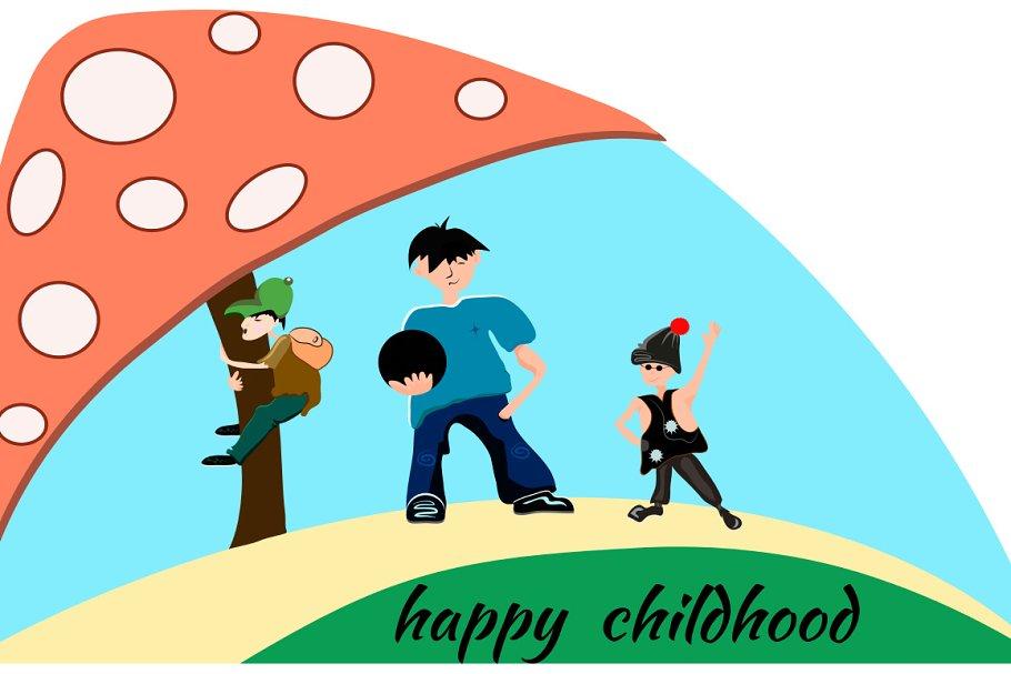 People boy, children, mushroom in Illustrations