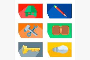 Icons house, pencil, tools, key