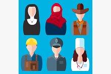 Icons people nurse, nun