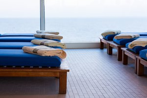 Relaxing beds in cruise ship gym