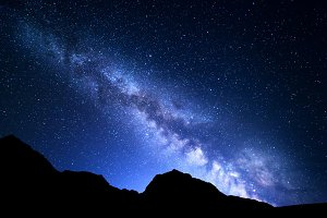 Mountain landscape with Milky Way