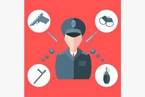 Police baton, gun, handcuffs
