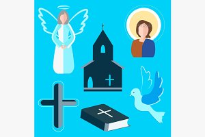 Set icons angel, cross