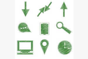 Set Icons, symbols, arrows