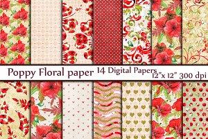 Red floral digital paper pack