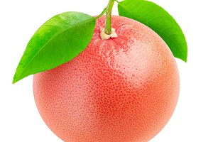 One isolated pink grapefruit