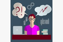 Businessman thinking infographics