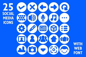Social Media App Icon Set & Web Font