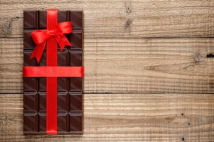 Chocolate bar with ribbon