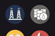 Oil industry icons. Vector