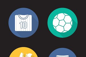 Soccer accessories icons. Vector