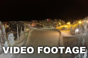 Aerial view of ski centre at night