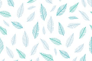 Vector Blue Feathers Repeat Pattern