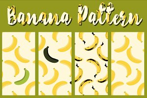 Vector Seamless Banana Pattern Set