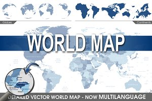 World Map with countries and globe