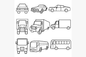 Set icons symbols car, truck, bus