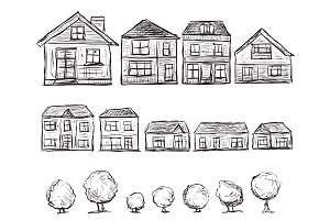 Doodles Houses and Trees Set
