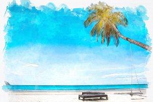watercolor seascape blue sea