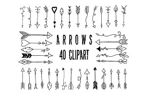 Clipart hand drawn arrow, digital