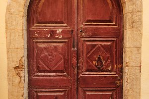 Wooden door in Rethymno, Crete