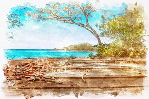 watercolor tree and sea