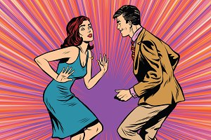 Retro man and woman dancing pop art