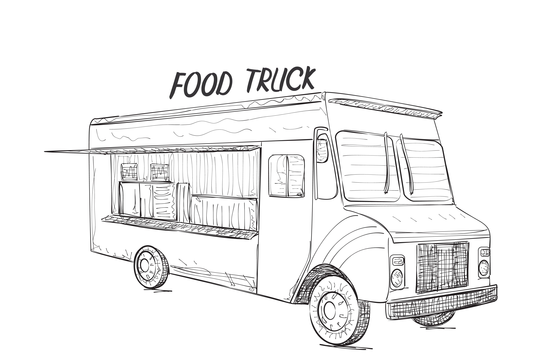 Food Truck Sketch ~ Illustrations ~ Creative Market