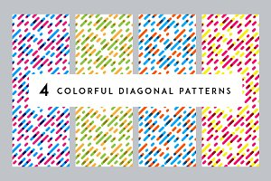 4 Colorful Diagonal Patterns