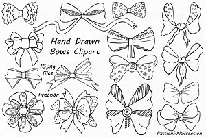 Hand Drawn Bows Clipart