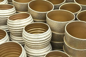 Gold flower ceramic pots