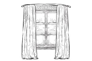 Hand Drawn Window with Curtains
