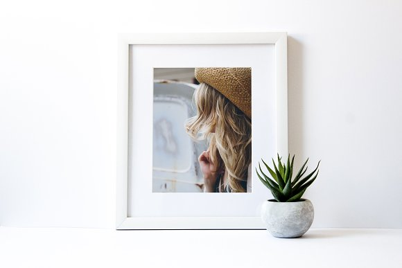 Styled White Frame with Succulent ~ Product Mockups ~ Creative Market