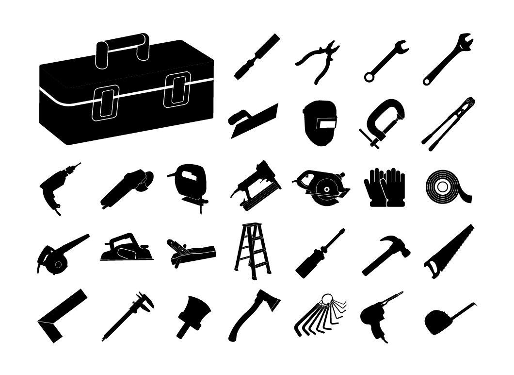Set of black tool icon ~ Icons ~ Creative Market