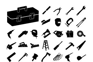 Set of black tool icon