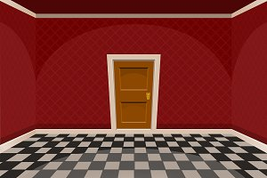 Cartoon red empty room with a door
