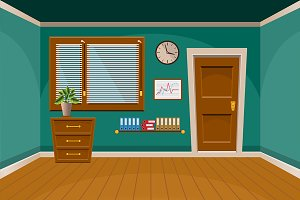 Cartoon flat vector room interior