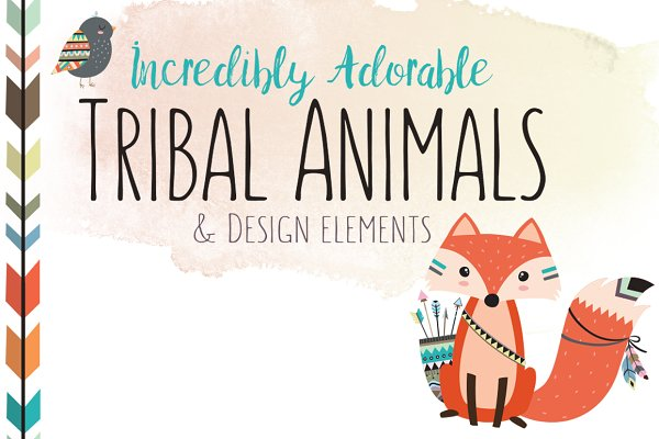 Huge Tribal Animal Clipart Bundle