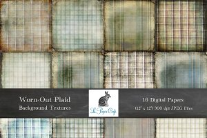 Worn-Out Plaid Background Textures