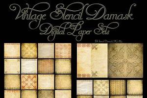Vintage Stencil Damask Digital Paper