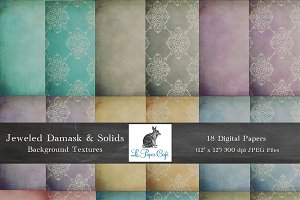 Jeweled Damask & Solids Backgrounds