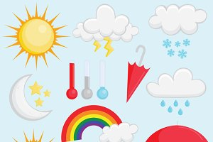 Vector Weather Elements Clip Art