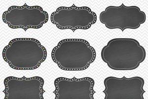 Bright Dotted Chalkboard Frames