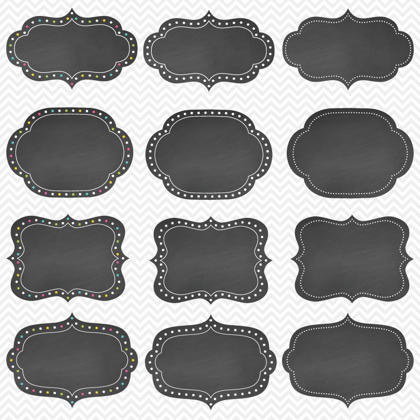 Bright Dotted Chalkboard Frames ~ Objects ~ Creative Market