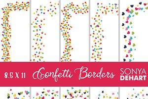 8.5x11 Confetti Page Border Clip Art