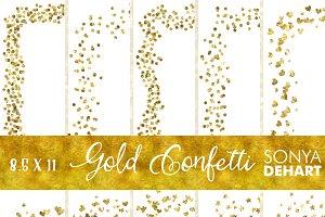 8.5 x 11 Gold Confetti Page Borders