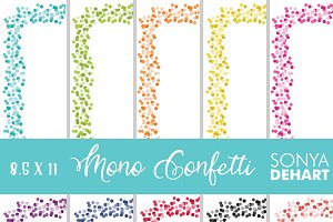 8.5 11 Bright Confetti Borders