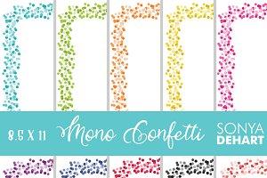 8.5 11 Bright Confetti Borders