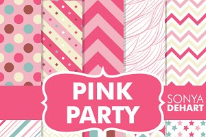 Pink Party Girly Digital Papers