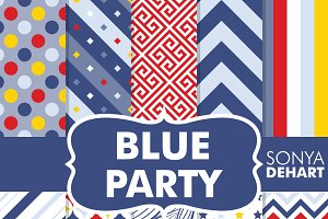 Blue Party Boys Digital Paper Pack