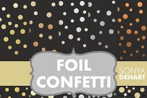 Black Foil Confetti Digital Papers